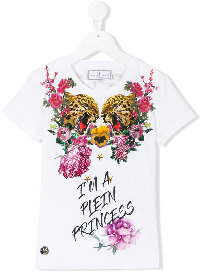 Philipp Plein Junior tiger floral print T-shirt