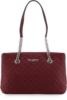 Karl Lagerfeld Paris Karolina Quilted Pebble Leather Shoulder Tote Bag