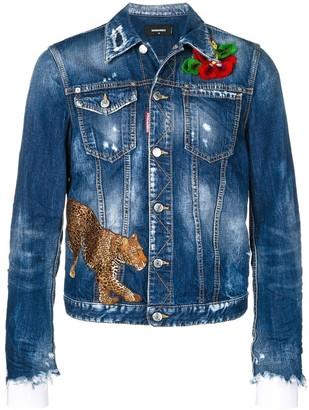 DSQUARED2 embroidered distressed denim jacket