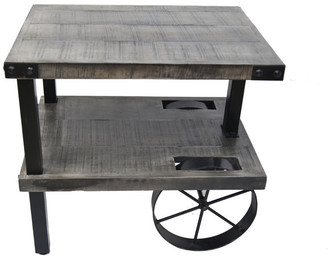 !nspire Solid Mango Wood and Cast Iron Accent Table in Distressed Gray