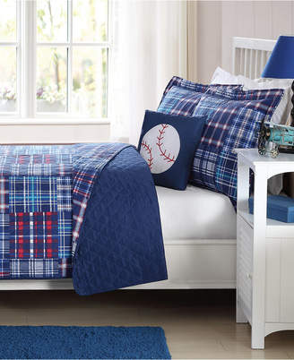 My World Reversible 3-Pc. Navy Plaid Patchwork Twin Quilt Set Bedding