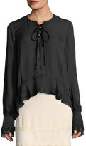 Jonathan Simkhai Mixed-Trim Silk Ruffle-Hem Silk Blouse