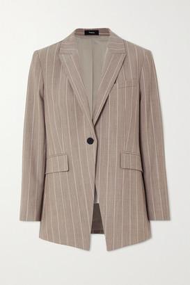 Theory Pinstriped Wool-blend Blazer - Beige