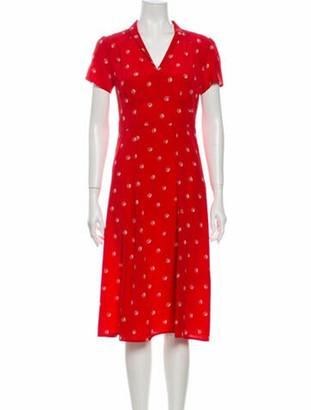 HVN Silk Midi Length Dress Red