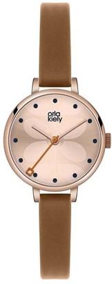Orla Kiely Unisex Adult Analogue Classic Quartz Watch with Leather Strap OK2034