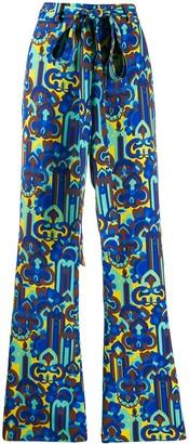 La DoubleJ Printed Flared Trousers