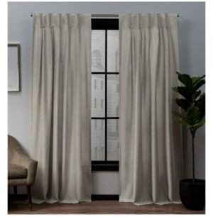 """Exclusive Home Loha Linen Button Top Window Curtain Panel Pair, 32"""" x 84"""""""