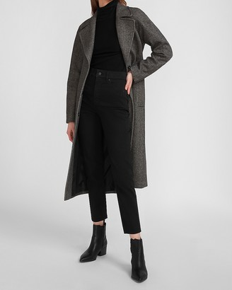 Express Herringbone Belted Wrap Coat