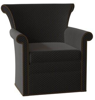 Hekman Francesca Swivel Armchair Body Fabric: 1541-052, Nailhead Detail: Brass, Seat Cushion Fill: Extra Firm