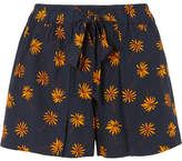 Madewell Floral-print Voile Shorts - Navy
