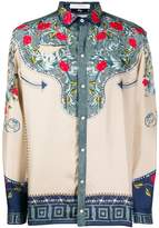 Versace Collection floral panel silk shirt