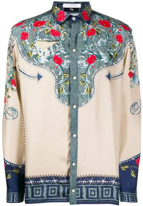 Versace floral panel silk shirt