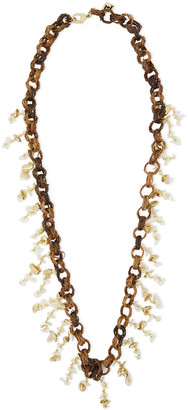 Rosantica Castagno Gold-tone, Wicker And Shell Necklace