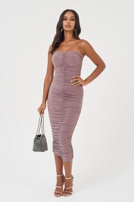Club L Womens **Mink Bandeau Ruched Bodycon Dress By Mink