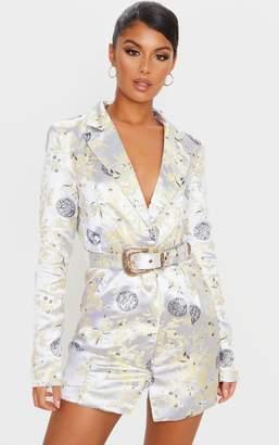 PrettyLittleThing Silver Jacquard Long Sleeve Belt Detail Blazer Dress