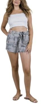 Rewash Juniors' Camo-Print Tie-Waist Shorts