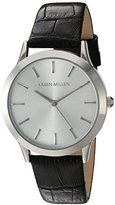Karen Millen Women's Quartz Watch with Silver Dial Analogue Display and Black Leather Strap KM106BA