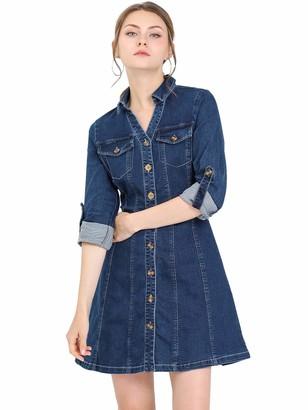 Allegra K Women's Denim Button Down Collared Roll Up Long Sleeve A-line Casual Jean Dress Deep Blue 8