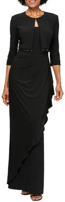 Alex Evenings Ruched Gown with Bolero