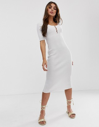 Asos Design DESIGN short sleeve scoop neck midi dress with button detail-Cream