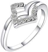 KnBoB Jewelry 18K White Gold Plated Women's Rings Hollow Square CZ Crystal Wedding Ring Size 9
