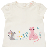John Lewis Cat and Mouse Applique T-Shirt, Cream