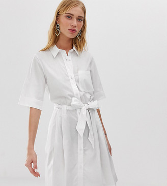 Monki tie waist shirt dress in white