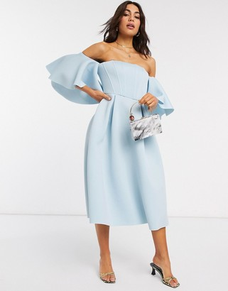 ASOS DESIGN boned corset bardot prom midi dress in blue