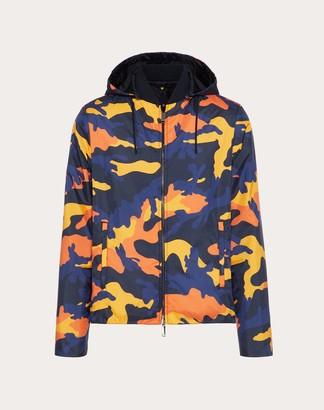 Valentino Camouflage Reversibile Windbreaker Man Navy Camo/orange 100% Poliammide 44