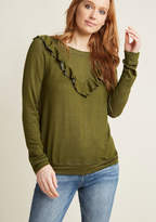 Ruffle V Pullover in Olive in XXS - Long Sweatshirt Waist by ModCloth
