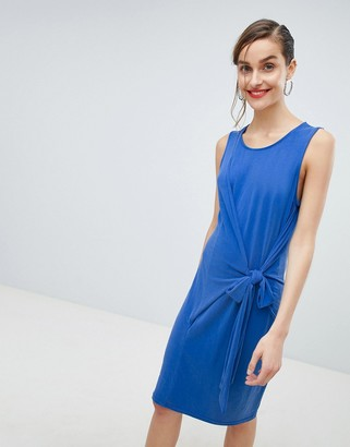 Selected tie waist mini dress in blue