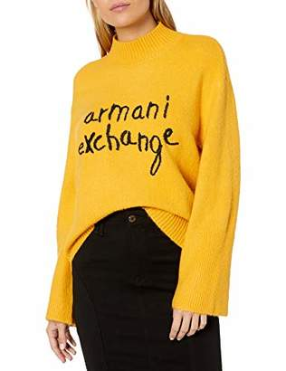 Armani Exchange A|X Women's High Neck Sweater with Script Graphic