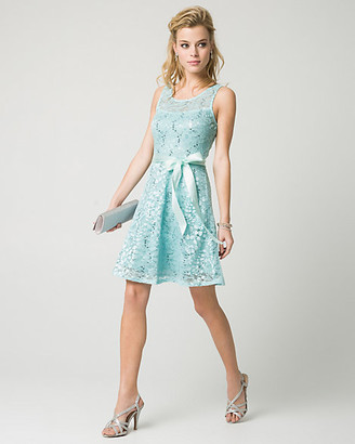 Le Château Lace & Sequin Illusion Party Dress
