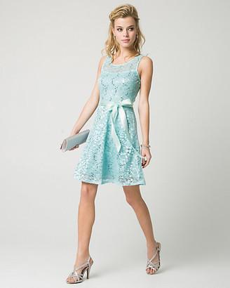 Le Château Lace & Sequin Illusion Party Dress