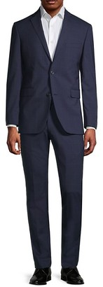 Saks Fifth Avenue Trim-Fit Checker Wool Suit