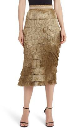 Dolce & Gabbana Metallic Fringe Stretch Silk Midi Skirt