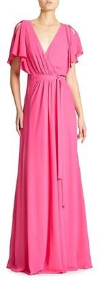Halston Drapey Wrap Cowl-Back Gown