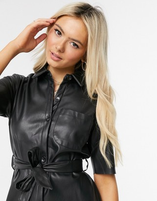 Miss Selfridge faux leather shirt dress in black