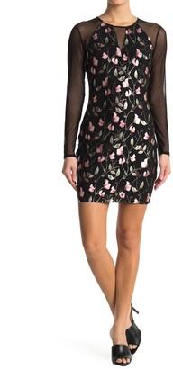GUESS Mesh Floral Print Dress