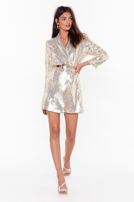 Nasty Gal Womens Blame It on the Boogie Sequin Blazer Dress - black - L