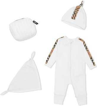 BURBERRY KIDS Check Trim Organic Cotton Three-Piece Gift Set