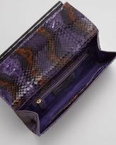 Nancy Gonzalez Python Front-Flap Crocodile Bar Clutch Bag, Purple