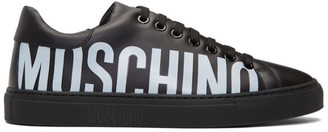 Moschino Black Leather Logo Sneakers