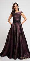 Terani Couture Shimmering Jacquard Off the Shoulder Ball Gown