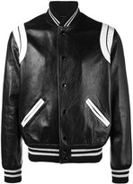 Saint Laurent stripe varsity jacket - men - Cotton/Lamb Skin/Polyamide/Wool - 48