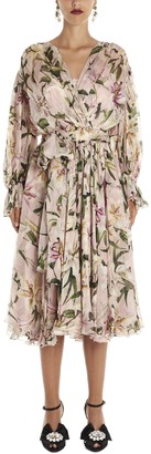 Dolce & Gabbana Floral Printed Flared Wrap Dress
