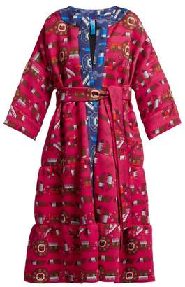 Rianna + Nina - Mika Greek-print Neoprene Coat - Womens - Pink Multi