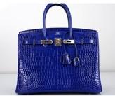 Hermes pristine (PR Blue Electrique Porosus Crocodile 35cm Birkin Bag