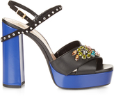 Lanvin Crystal-embellished platform leather sandals