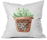 DENY Designs Chelcey Tate Black Thumb Succulent Throw Pillow